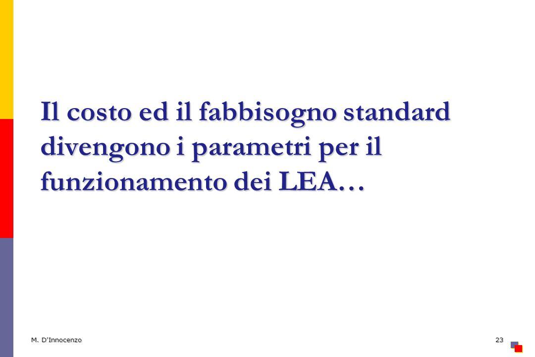 Il costo ed il fabbisogno standard divengono i parametri per il funzionamento dei LEA… M. D'Innocenzo23