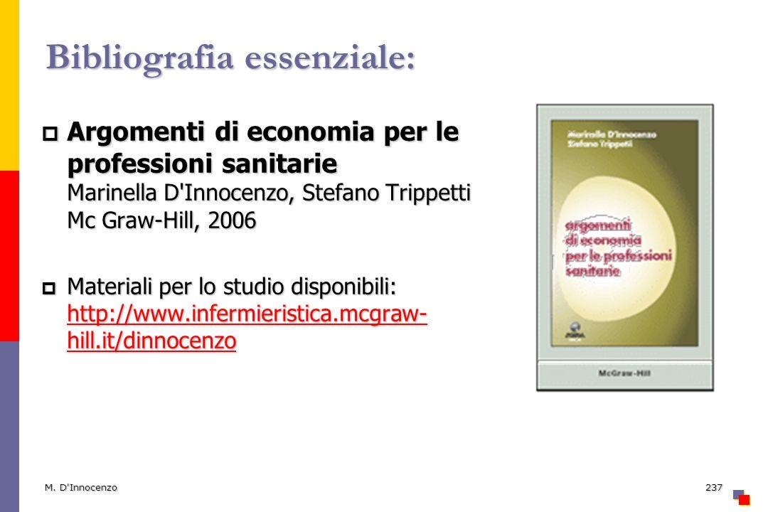 M. D'Innocenzo237 Bibliografia essenziale: Argomenti di economia per le professioni sanitarie Marinella D'Innocenzo, Stefano Trippetti Mc Graw-Hill, 2