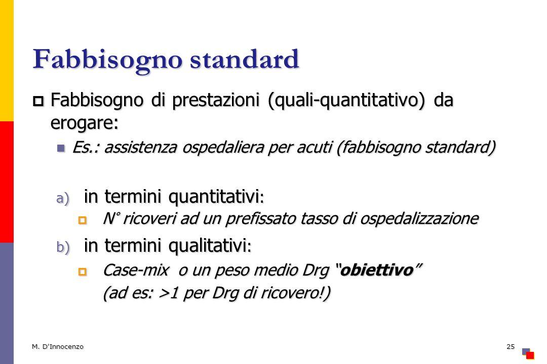 Fabbisogno standard Fabbisogno di prestazioni (quali-quantitativo) da erogare: Fabbisogno di prestazioni (quali-quantitativo) da erogare: Es.: assistenza ospedaliera per acuti (fabbisogno standard) Es.: assistenza ospedaliera per acuti (fabbisogno standard) a) in termini quantitativi : N° ricoveri ad un prefissato tasso di ospedalizzazione N° ricoveri ad un prefissato tasso di ospedalizzazione b) in termini qualitativi : Case-mix o un peso medio Drg obiettivo Case-mix o un peso medio Drg obiettivo (ad es: >1 per Drg di ricovero!) M.