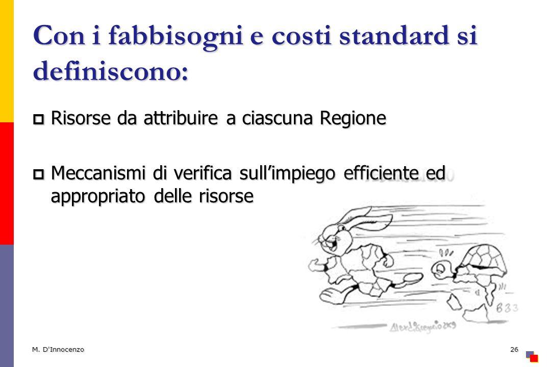 Con i fabbisogni e costi standard si definiscono: Risorse da attribuire a ciascuna Regione Risorse da attribuire a ciascuna Regione Meccanismi di veri