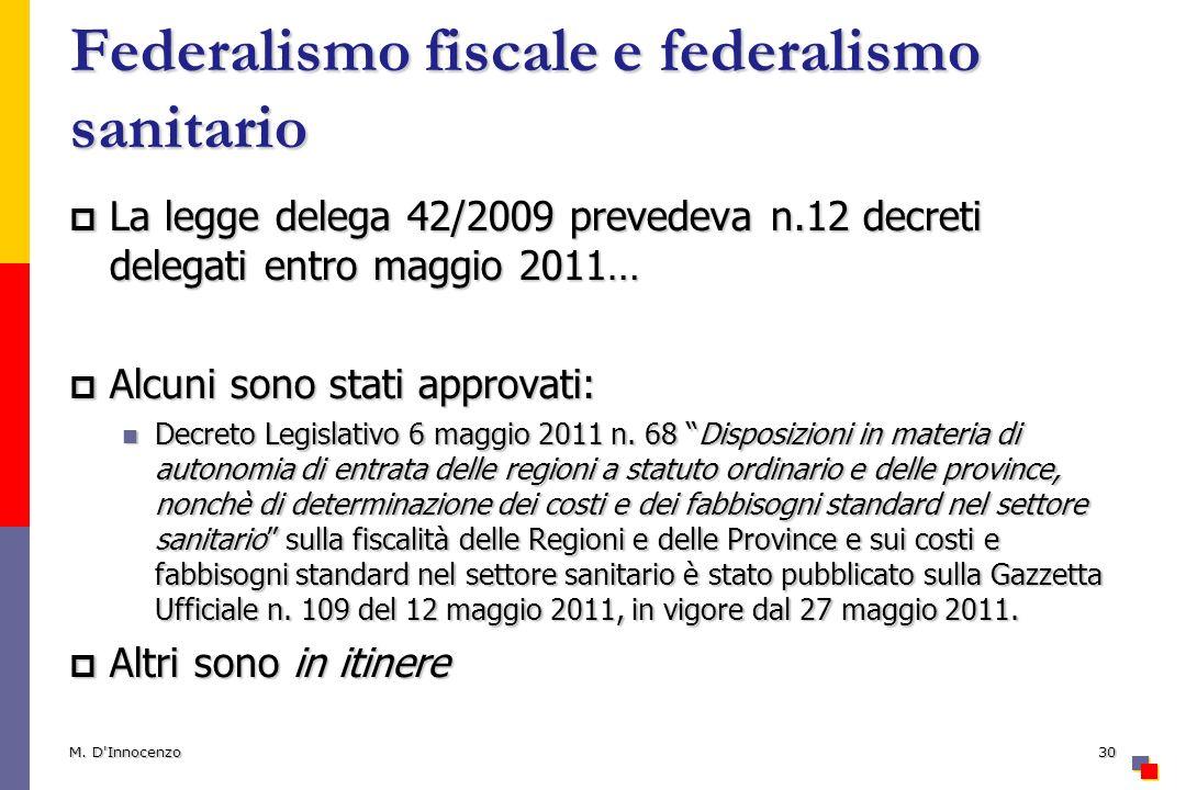Federalismo fiscale e federalismo sanitario La legge delega 42/2009 prevedeva n.12 decreti delegati entro maggio 2011… La legge delega 42/2009 prevede