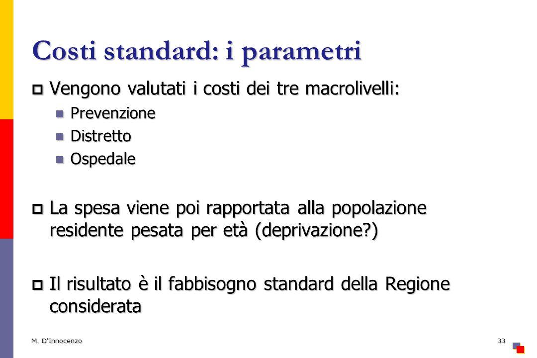 Costi standard: i parametri Vengono valutati i costi dei tre macrolivelli: Vengono valutati i costi dei tre macrolivelli: Prevenzione Prevenzione Dist