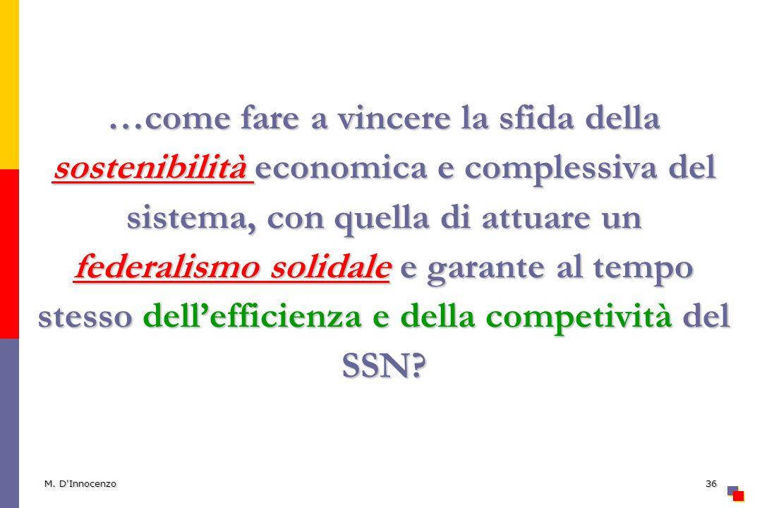 M. D'Innocenzo36 …come fare a vincere la sfida della sostenibilità economica e complessiva del sistema, con quella di attuare un federalismo solidale