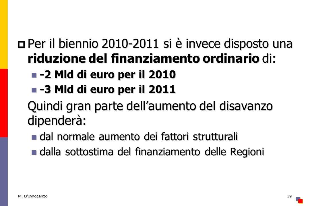 Per il biennio 2010-2011 si è invece disposto una riduzione del finanziamento ordinario di: Per il biennio 2010-2011 si è invece disposto una riduzione del finanziamento ordinario di: -2 Mld di euro per il 2010 -2 Mld di euro per il 2010 -3 Mld di euro per il 2011 -3 Mld di euro per il 2011 Quindi gran parte dellaumento del disavanzo dipenderà: dal normale aumento dei fattori strutturali dal normale aumento dei fattori strutturali dalla sottostima del finanziamento delle Regioni dalla sottostima del finanziamento delle Regioni M.