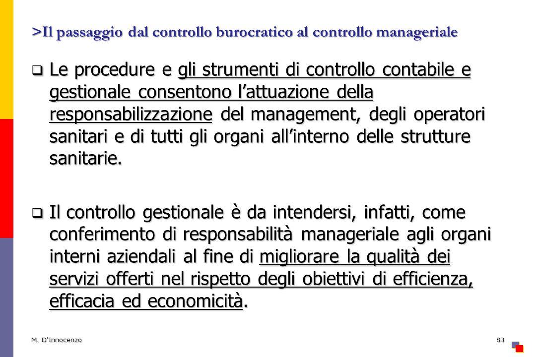 >Il passaggio dal controllo burocratico al controllo manageriale Le procedure e gli strumenti di controllo contabile e gestionale consentono lattuazio