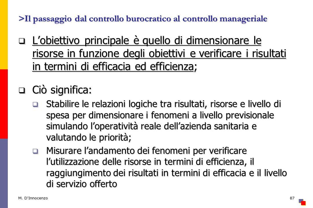 >Il passaggio dal controllo burocratico al controllo manageriale Lobiettivo principale è quello di dimensionare le risorse in funzione degli obiettivi
