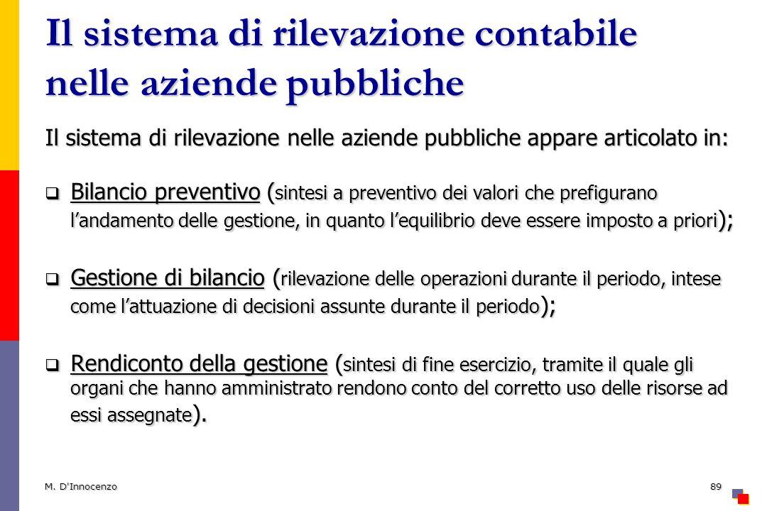 Il sistema di rilevazione contabile nelle aziende pubbliche Il sistema di rilevazione nelle aziende pubbliche appare articolato in: Bilancio preventiv
