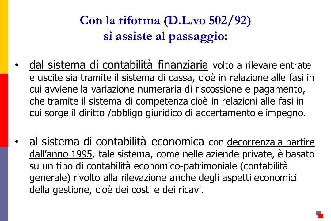 Con la riforma (D.L.vo 502/92) si assiste al passaggio: dal sistema di contabilità finanziaria volto a rilevare entrate e uscite sia tramite il sistem
