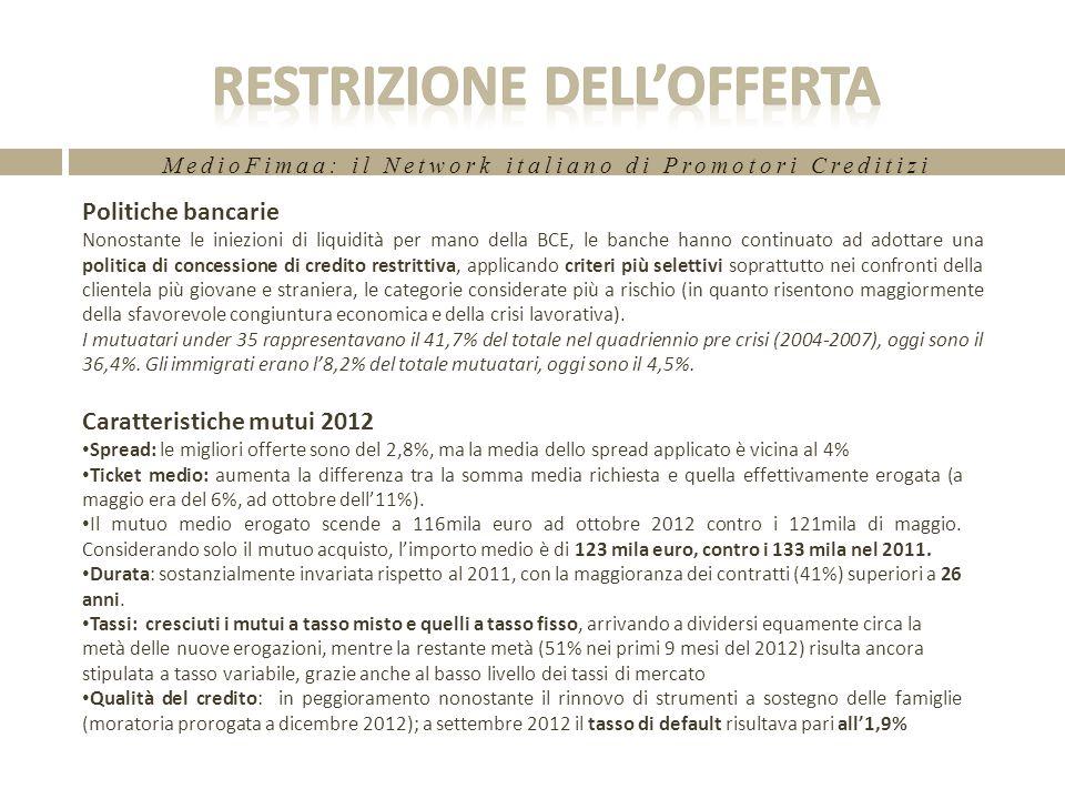 MedioFimaa: il Network italiano di Promotori Creditizi Andamento delle consistenze Nel 2°trimestre 2012 si registra una lieve diminuzione dello stock delle consistenze mutui (-0,5% rispetto al trimestre precedente).