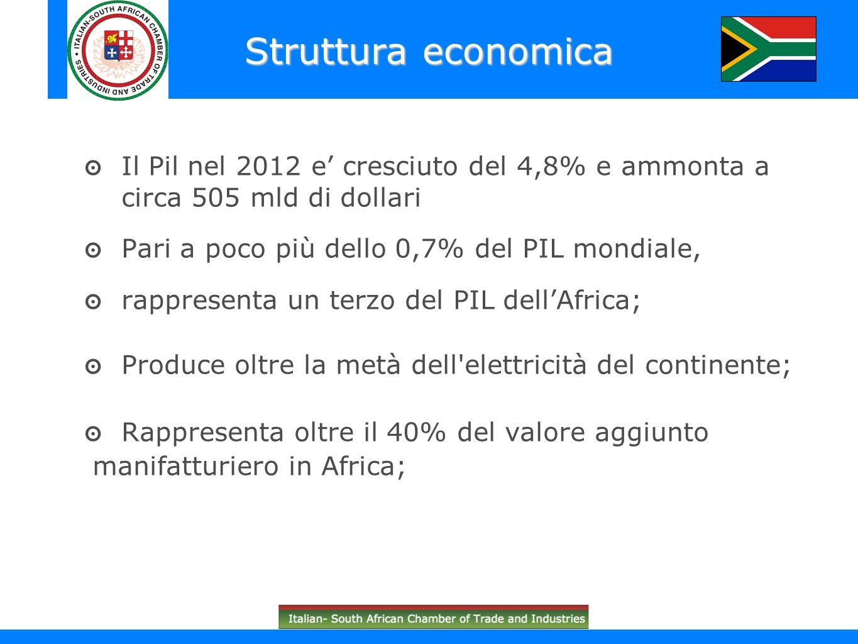 Il Pil nel 2012 e cresciuto del 4,8% e ammonta a circa 505 mld di dollari Pari a poco più dello 0,7% del PIL mondiale, rappresenta un terzo del PIL de