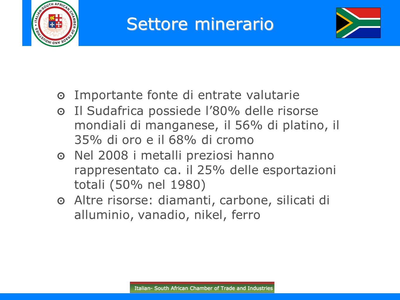 Importante fonte di entrate valutarie Il Sudafrica possiede l80% delle risorse mondiali di manganese, il 56% di platino, il 35% di oro e il 68% di cro