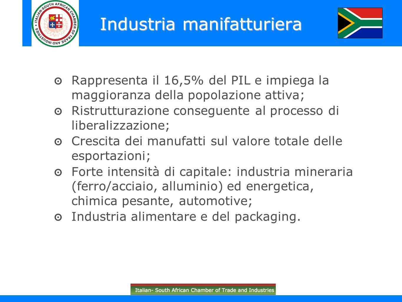 Rappresenta il 16,5% del PIL e impiega la maggioranza della popolazione attiva; Ristrutturazione conseguente al processo di liberalizzazione; Crescita