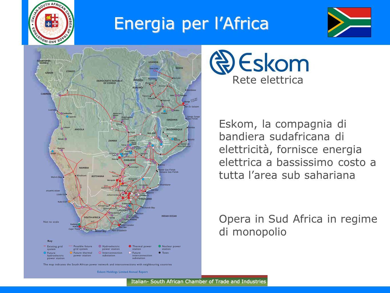 Rete elettrica Eskom, la compagnia di bandiera sudafricana di elettricità, fornisce energia elettrica a bassissimo costo a tutta larea sub sahariana O