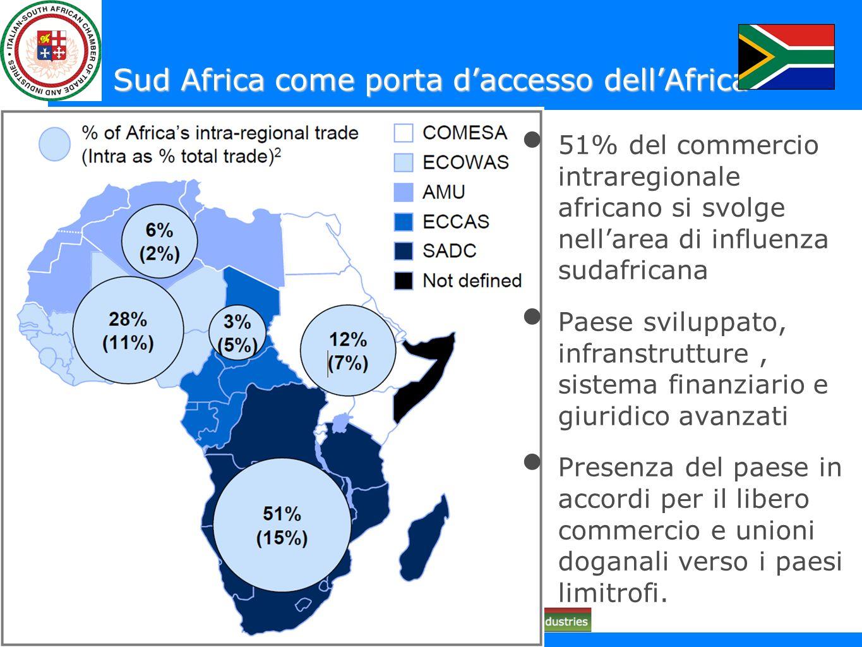 Sud Africa come porta daccesso dellAfrica 51% del commercio intraregionale africano si svolge nellarea di influenza sudafricana Paese sviluppato, infr