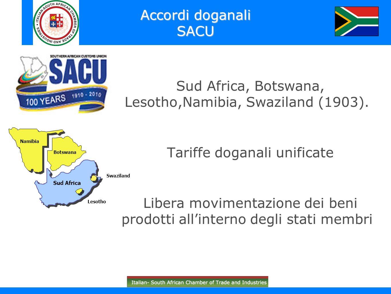 Sud Africa, Botswana, Lesotho,Namibia, Swaziland (1903). Tariffe doganali unificate Libera movimentazione dei beni prodotti allinterno degli stati mem