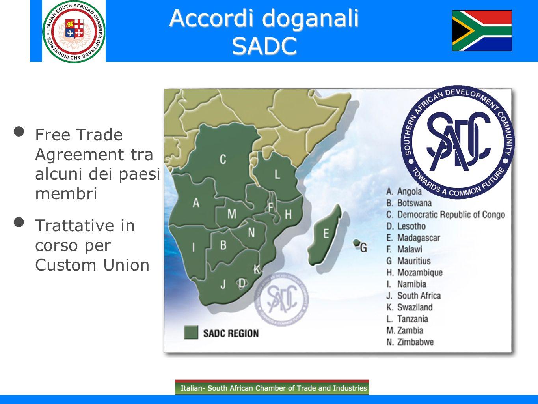 Accordi doganali SADC Free Trade Agreement tra alcuni dei paesi membri Trattative in corso per Custom Union
