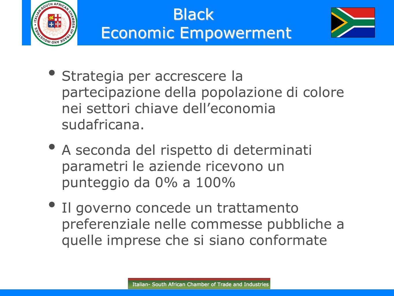 Strategia per accrescere la partecipazione della popolazione di colore nei settori chiave delleconomia sudafricana. A seconda del rispetto di determin