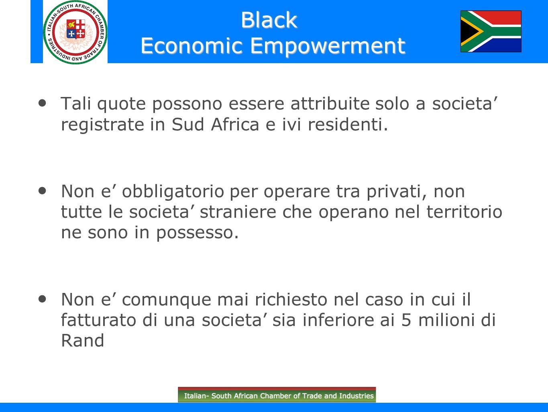 Tali quote possono essere attribuite solo a societa registrate in Sud Africa e ivi residenti. Non e obbligatorio per operare tra privati, non tutte le