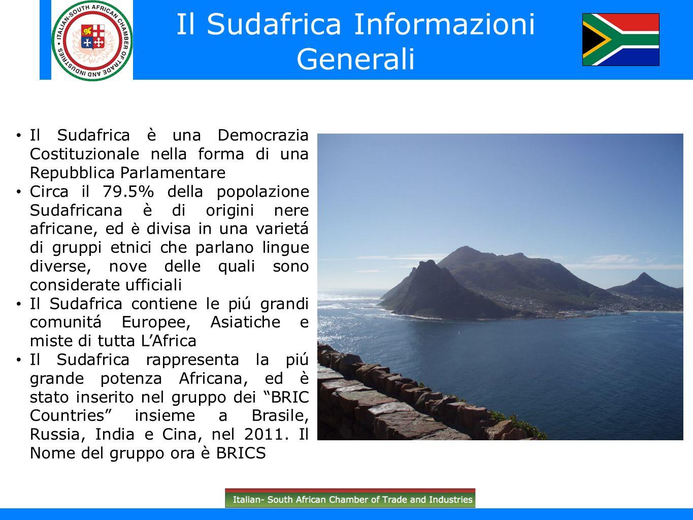 South Africa in brief (South African flag) Il Sudafrica è una Democrazia Costituzionale nella forma di una Repubblica Parlamentare Circa il 79.5% dell