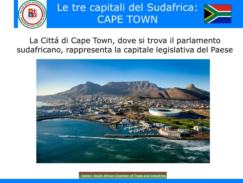 South Africa in brief (South African flag)) La Cittá di Cape Town, dove si trova il parlamento sudafricano, rappresenta la capitale legislativa del Pa
