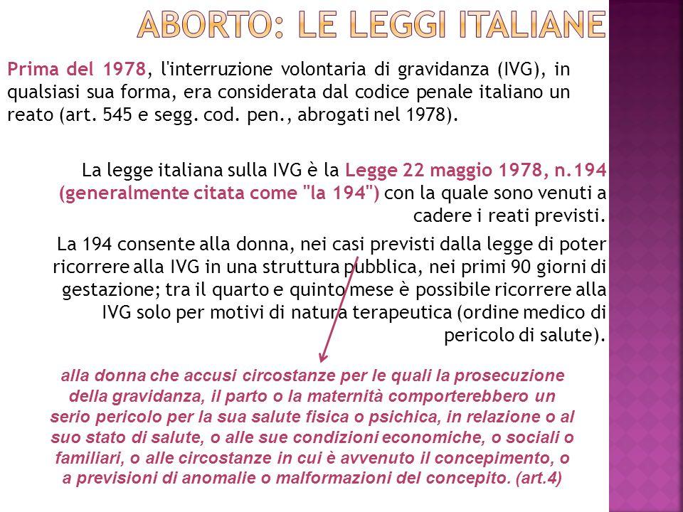 La legge italiana sulla IVG è la Legge 22 maggio 1978, n.194 (generalmente citata come