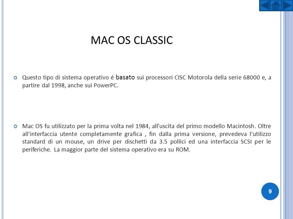 MAC OS CLASSIC Questo tipo di sistema operativo é basato sui processori CISC Motorola della serie 68000 e, a partire dal 1998, anche sui PowerPC. Mac