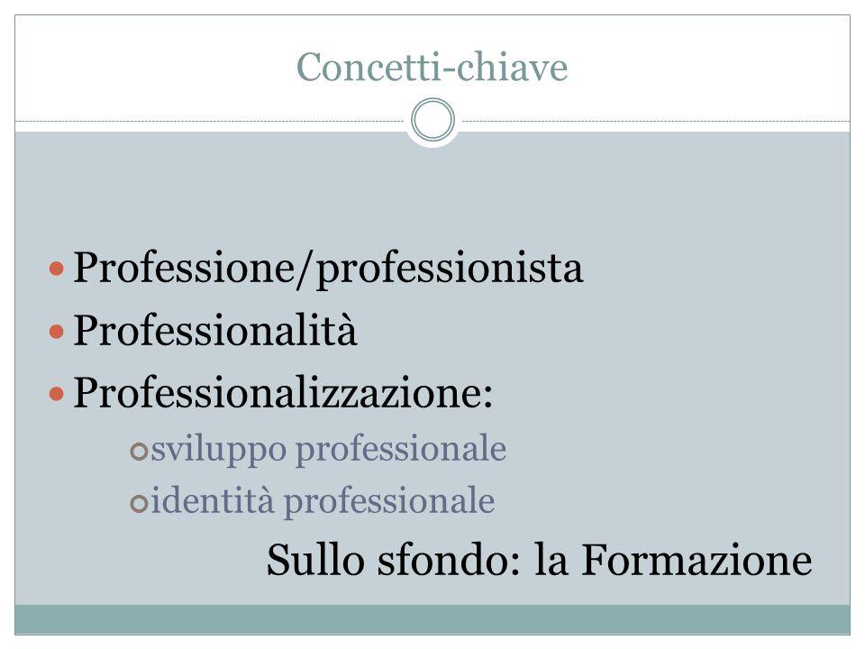 Concetti-chiave Professione/professionista Professionalità Professionalizzazione: sviluppo professionale identità professionale Sullo sfondo: la Formazione