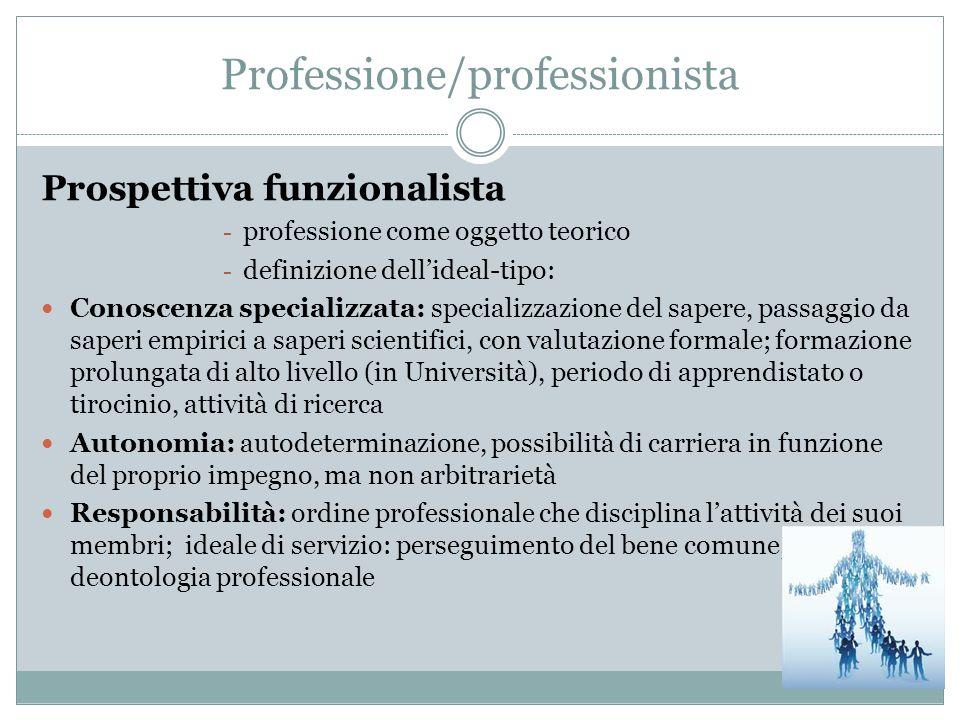 Prospettiva funzionalista - professione come oggetto teorico - definizione dellideal-tipo: Conoscenza specializzata: specializzazione del sapere, pass