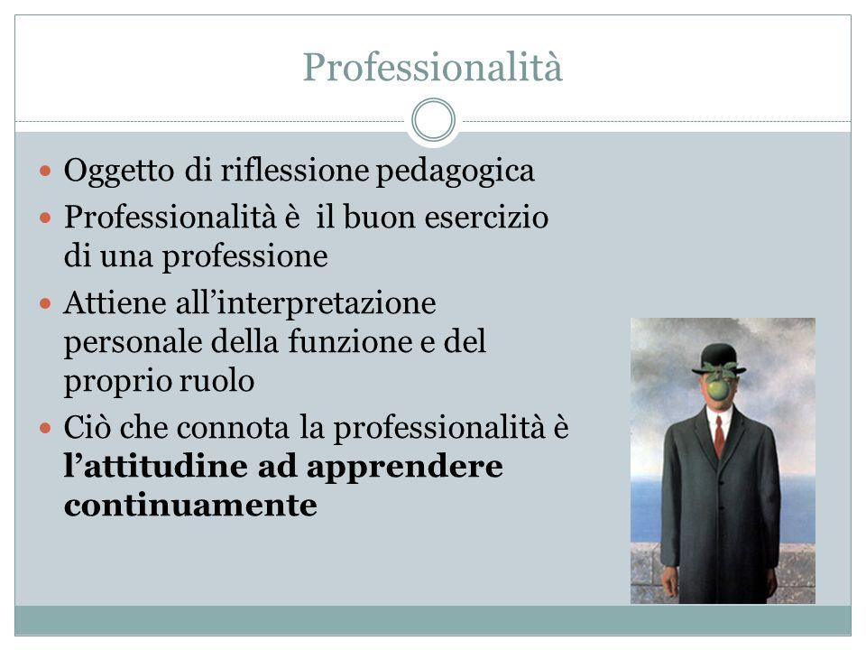 Professionalità Oggetto di riflessione pedagogica Professionalità è il buon esercizio di una professione Attiene allinterpretazione personale della funzione e del proprio ruolo Ciò che connota la professionalità è lattitudine ad apprendere continuamente