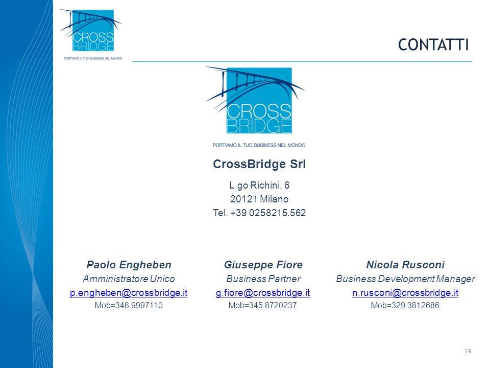 CONTATTI CrossBridge Srl L.go Richini, 6 20121 Milano Tel. +39 0258215.562 Paolo Engheben Amministratore Unico p.engheben@crossbridge.it Mob=348.99971
