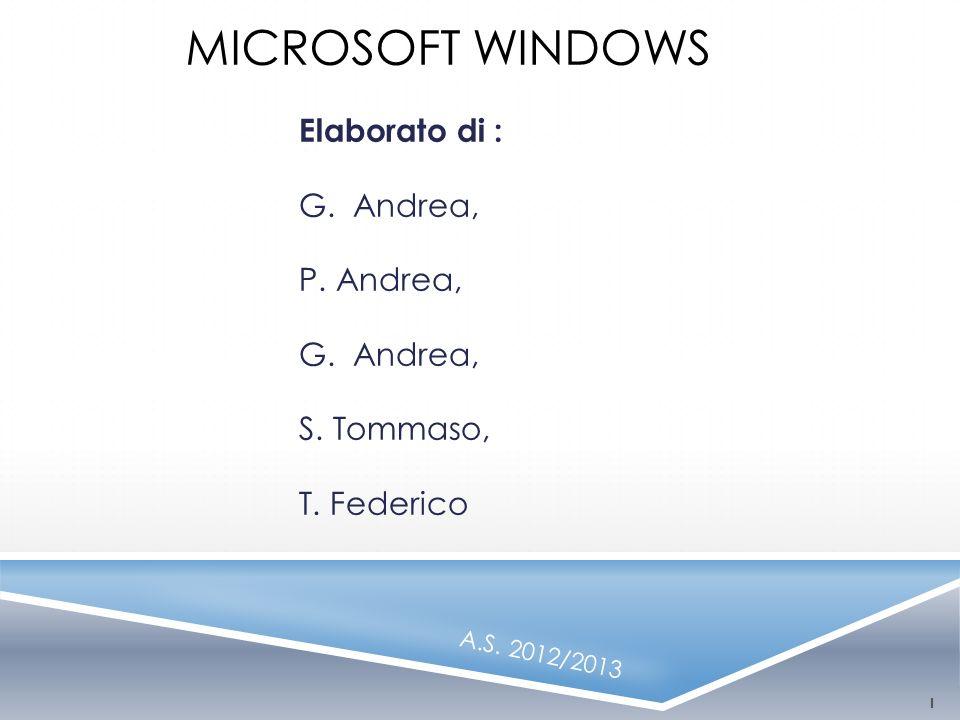 MICROSOFT WINDOWS Elaborato di : G. Andrea, P. Andrea, G. Andrea, S. Tommaso, T. Federico A.S. 2012/2013 1