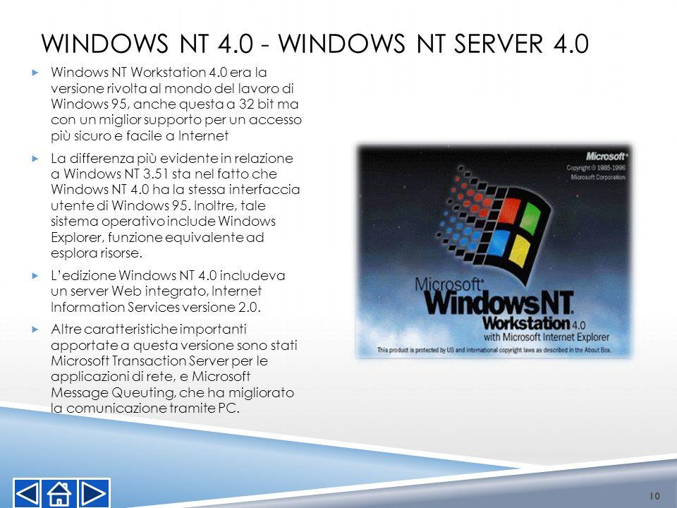 WINDOWS NT 4.0 - WINDOWS NT SERVER 4.0 Windows NT Workstation 4.0 era la versione rivolta al mondo del lavoro di Windows 95, anche questa a 32 bit ma
