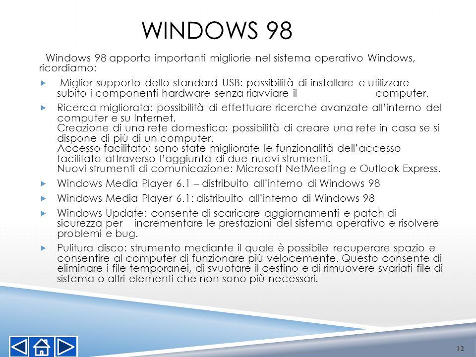 WINDOWS 98 Windows 98 apporta importanti migliorie nel sistema operativo Windows, ricordiamo: Miglior supporto dello standard USB: possibilità di inst