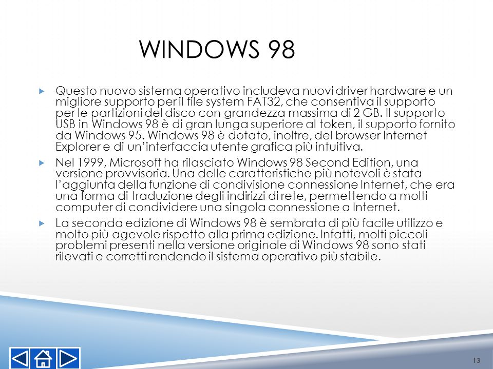 Questo nuovo sistema operativo includeva nuovi driver hardware e un migliore supporto per il file system FAT32, che consentiva il supporto per le part