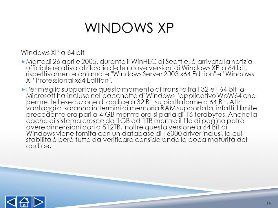 Windows XP a 64 bit Martedì 26 aprile 2005, durante il WinHEC di Seattle, è arrivata la notizia ufficiale relativa al rilascio delle nuove versioni di