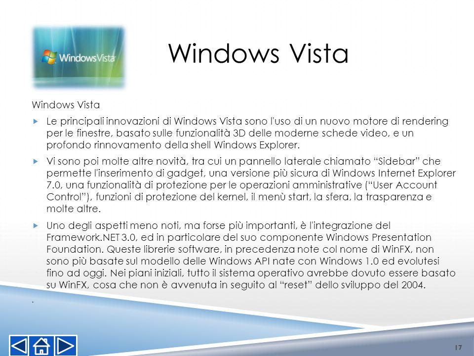 Windows Vista Le principali innovazioni di Windows Vista sono l'uso di un nuovo motore di rendering per le finestre, basato sulle funzionalità 3D dell