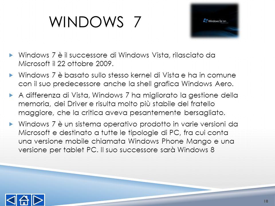 Windows 7 è il successore di Windows Vista, rilasciato da Microsoft il 22 ottobre 2009. Windows 7 è basato sullo stesso kernel di Vista e ha in comune