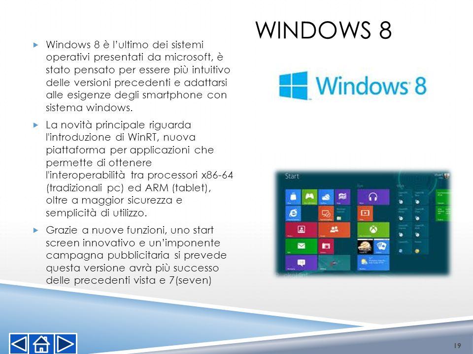 WINDOWS 8 Windows 8 è lultimo dei sistemi operativi presentati da microsoft, è stato pensato per essere più intuitivo delle versioni precedenti e adat