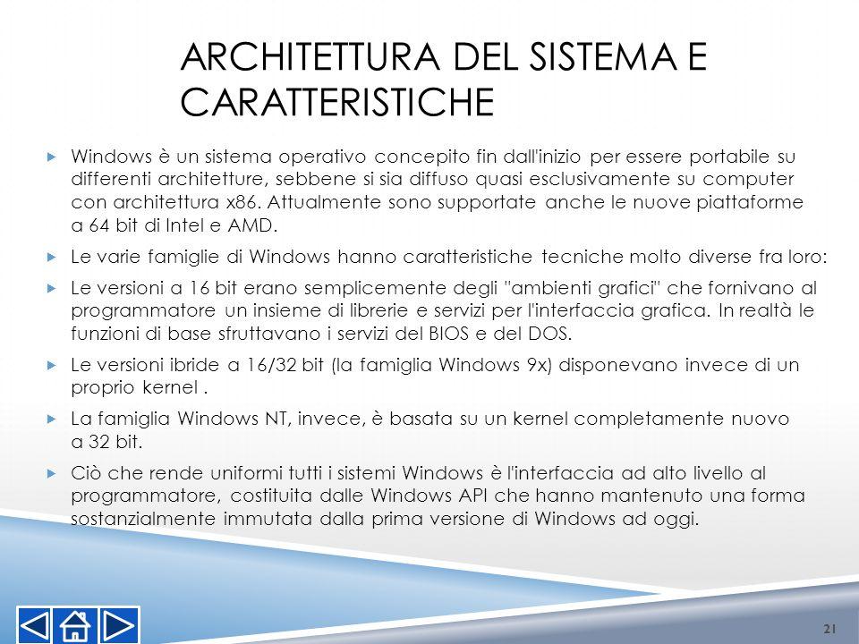 ARCHITETTURA DEL SISTEMA E CARATTERISTICHE Windows è un sistema operativo concepito fin dall'inizio per essere portabile su differenti architetture, s