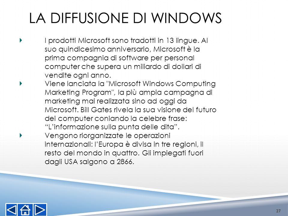 I prodotti Microsoft sono tradotti in 13 lingue. Al suo quindicesimo anniversario, Microsoft è la prima compagnia di software per personal computer ch