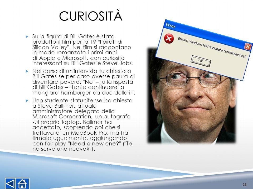 CURIOSITÀ Sulla figura di Bill Gates è stato prodotto il film per la TV