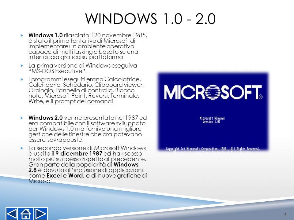 WINDOWS 1.0 - 2.0 5 Windows 1.0 rilasciato il 20 novembre 1985, è stato il primo tentativo di Microsoft di implementare un ambiente operativo capace d