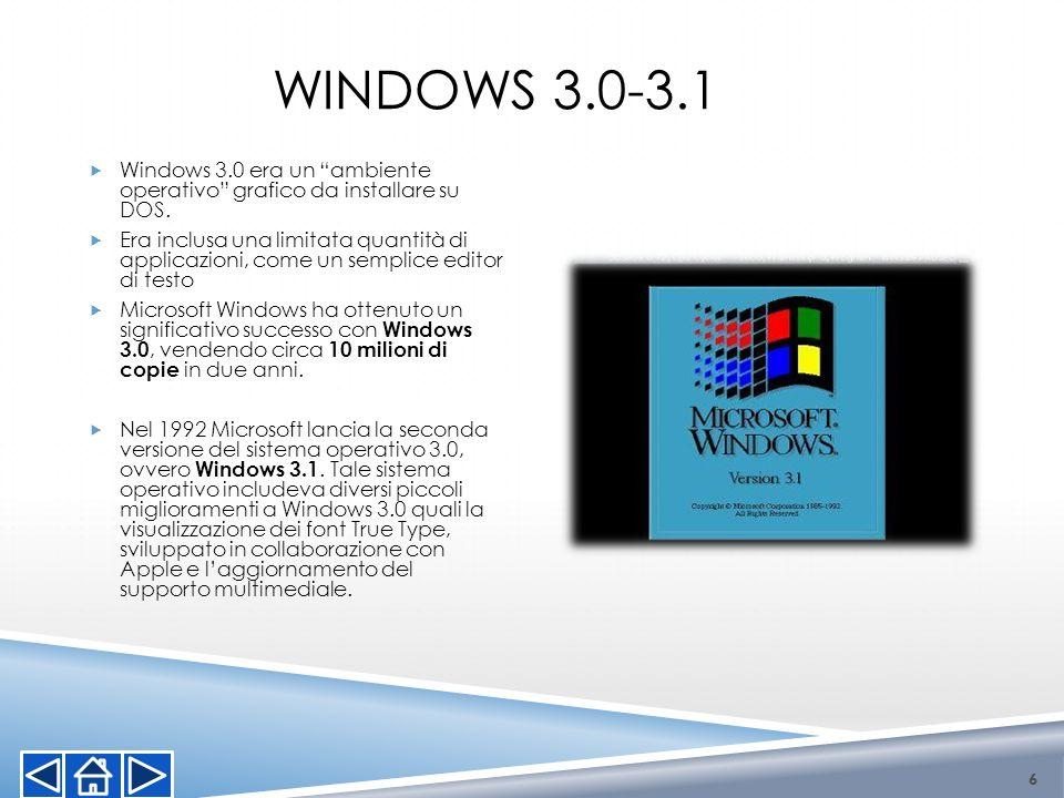 WINDOWS 3.0-3.1 6 Windows 3.0 era un ambiente operativo grafico da installare su DOS. Era inclusa una limitata quantità di applicazioni, come un sempl