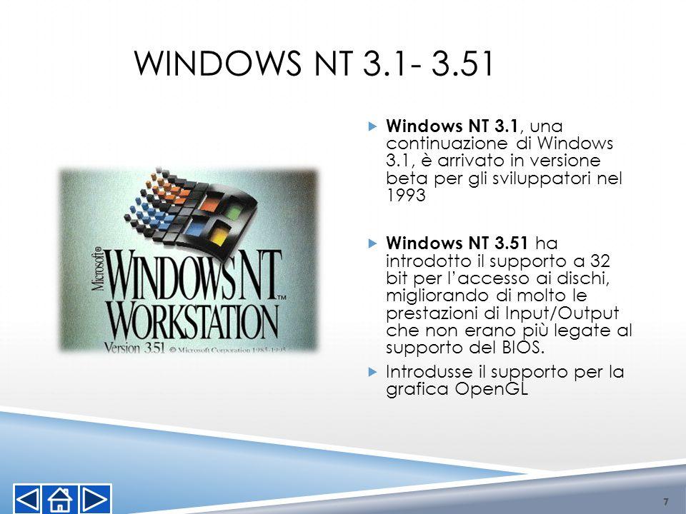 WINDOWS NT 3.1- 3.51 7 Windows NT 3.1, una continuazione di Windows 3.1, è arrivato in versione beta per gli sviluppatori nel 1993 Windows NT 3.51 ha
