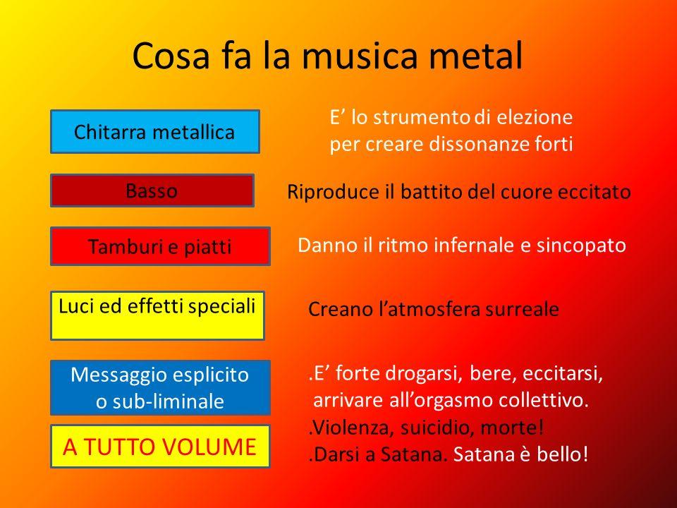 Cosa fa la musica metal Luci ed effetti speciali Chitarra metallica Basso Tamburi e piatti A TUTTO VOLUME Messaggio esplicito o sub-liminale E lo stru