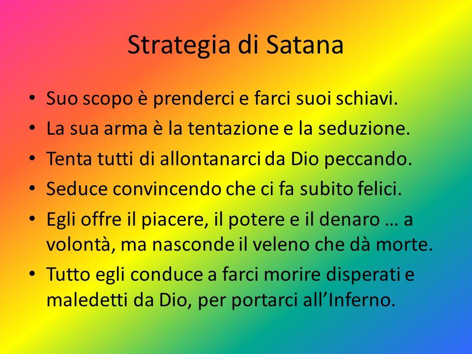 Strategia di Satana Suo scopo è prenderci e farci suoi schiavi. La sua arma è la tentazione e la seduzione. Tenta tutti di allontanarci da Dio peccand