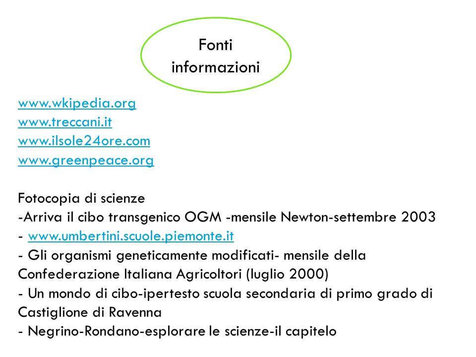 Fonti informazioni www.wkipedia.org www.treccani.it www.ilsole24ore.com www.greenpeace.org Fotocopia di scienze -Arriva il cibo transgenico OGM -mensi