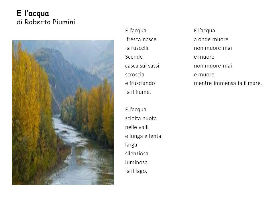 E lacqua di Roberto Piumini E lacqua fresca nasce fa ruscelli Scende casca sui sassi scroscia e frusciando fa il fiume. E lacqua sciolta nuota nelle v