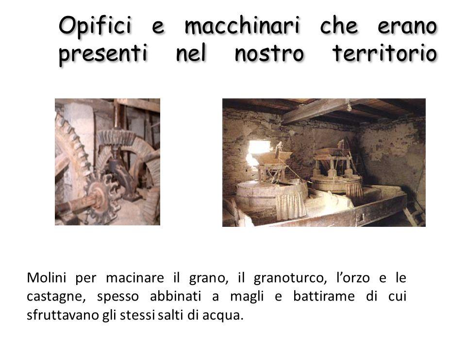 Opifici e macchinari che erano presenti nel nostro territorio Molini per macinare il grano, il granoturco, lorzo e le castagne, spesso abbinati a magl