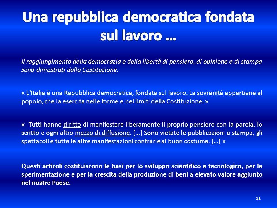 11 Il raggiungimento della democrazia e della libertà di pensiero, di opinione e di stampa sono dimostrati dalla Costituzione. « L'Italia è una Repubb